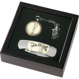 Pocket watch with chain & pocket knife